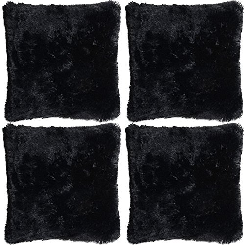Adore 4 x Super Soft Faux Fur Cushion Cover Covers Cuddly Shaggy 43x43cm, Black