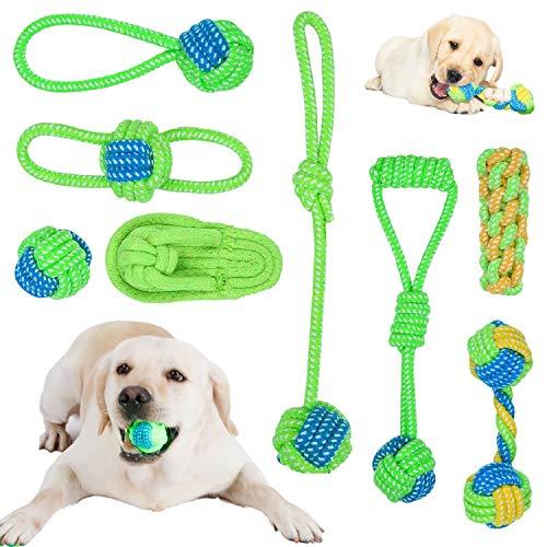 HAPPY HACHI Cuerda Juguete para Perros 8 Piezas, Juego de Juguetes para Perros Algodón Natural Duradero Resistente Juego Limpieza Dientes Regalo Cumpleaños