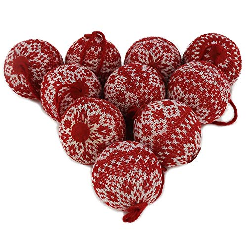 WEWILL 2.75' (70mm) Red and White Knit Sweater Christmas Ball Ornaments Festive Decoration Snowflake,10 PCS(Style 1)
