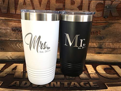 """Set of 2-20oz Insulated""""MR. & Mrs."""" (EST. 2019) Travel Mug l Wedding Gift l Laser Engraved l Powder Coated"""
