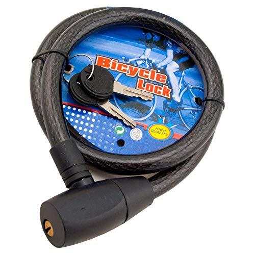 HFTEK – Bloqueo de cable, cerradura en espiral, candado para ciclomotor, scooter, ciclismo, carrera, bicicleta y moto – 80 cm / 14 mm