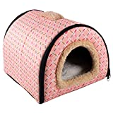 N/D Dololoo Pet Beds for Cat, Cat Bed Igloo, Cat Cave Nest Sleeping Bed for Kitten Cat, Self-Warming 2 in 1 Foldable Cave House(S:35X30X28cm, Pink Checked)