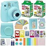 Fuji Instax Mini 9 Instant Camera ICE Blue w/Case + Fuji Instax Film Value Pack (40 Sheets) for Fujifilm Instax Mini 9 Camera + Accessories, Color Filters, Photo Album, Selfie Lens + More