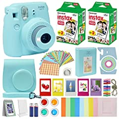 Includes Fuji Instax mini 9 Camera Ice Blue, The Fuji Instax mini 9 Camera Ice Blue features a Fujinon 60mm f/12.7 Lens, Optical 0.37x Real Image Viewfinder, Auto Exposure with Manual Switching and a Built-In Flash. Turn the brightness adjustment dia...
