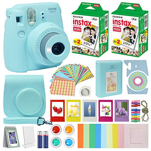 Fuji Instax Mini 9 Instant Camera ICE Blue w/Case + Fuji Instax...