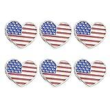 Amosfun 6 unids 4 de Julio Bandera Americana en Forma de corazón Pines de Solapa Día de la Independencia Patriótico...