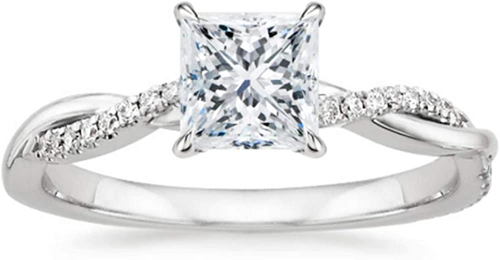 Blocaci 1-1/4 CTW Princess-Cut Moissanite Engagement Ring for Women Personalized 10K 14K 18K Gold Size 4-12