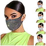 Face Bandana Mundschutz 5 Stück Herren Damen Glänzende Strasssteine UV-Schutz Loop-Schal Schlauchtuch fur Outdoor Party Nachtclub