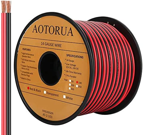 AOTORUA 100FT 14 2 Gauge Red Black Cable Hookup Electrical Wire 14AWG 2 Conductor 2 Color Flexible product image