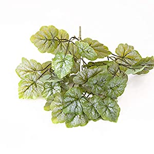 Silk Flower Arrangements Rawlins Artificial Simulation Plant, Green Plant Potted Flower Arrangement Leaves 5 Branched Begonia Leaves, Green Plant Decoration for Weddings and Weddings Pack of 5 Style F