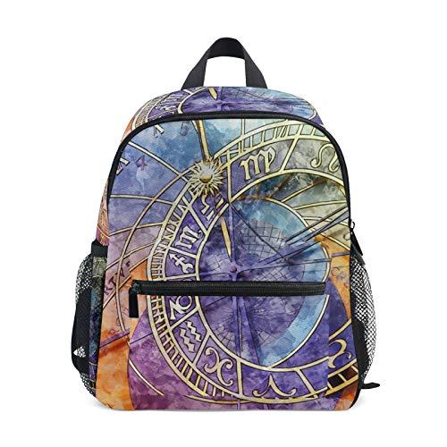 Rucksack für Jungen und Mädchen Mini Rucksack Reisetasche mit Brustclip Antike Uhr