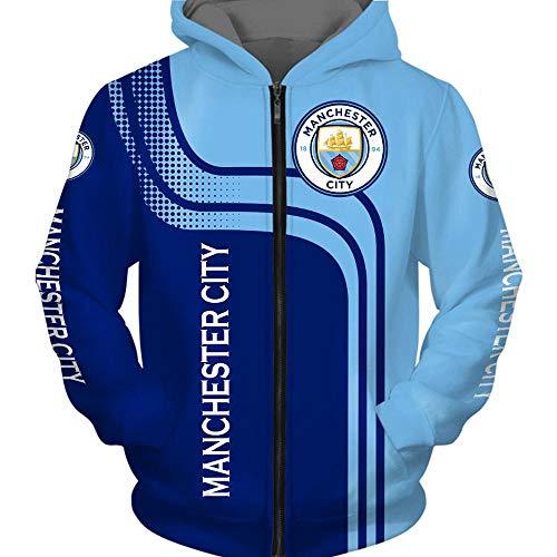 CSHASHA Hoodiepullover 3D-Sweatshirt - Manchester City Kapuze Baseball-Trikot Frühling Lässige Sportswear Coat Top T-Shirt - Teens Geschenk Zip Hoodies-XXXL