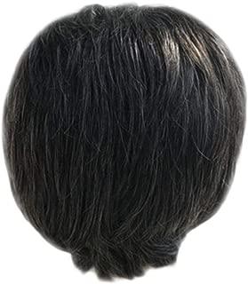 SUPPION Fashion Men's Wigs Cosplay Short Natural Hair Mixed Dark Brown Handsome Wig (A)