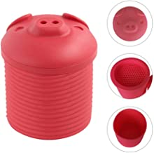 Sanmubo Cartoon Pig Shaped Silicone Bacon Grease Leacher Bacon Grease Collector Bacon Grease Storage Container Bin Bacon Grease Strainer and Collector, Red