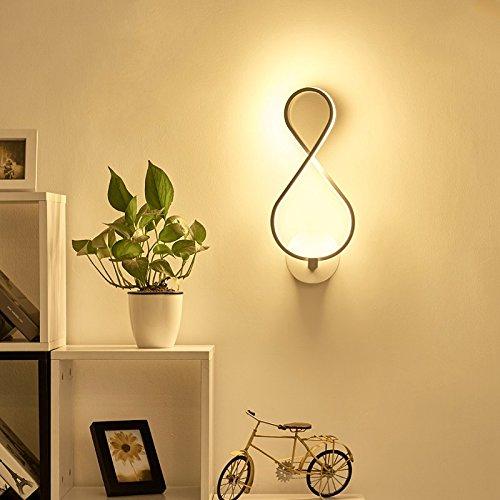 Creative Led moderne minimaliste mur de chevet chambre à coucher Lampe lumière escalier Couloir Couloir Art blanc lampe,39 * 17cm,18 Watts éclairage réglable 3-couleurs