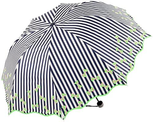ZGLXZ Paraguas ondulado a rayas paraguas de vinilo protector solar anti-UV paraguas plegable paraguas para mujer Tri-fold multicolor accesorios de viaje opcionales (color: # 1) (# 1)