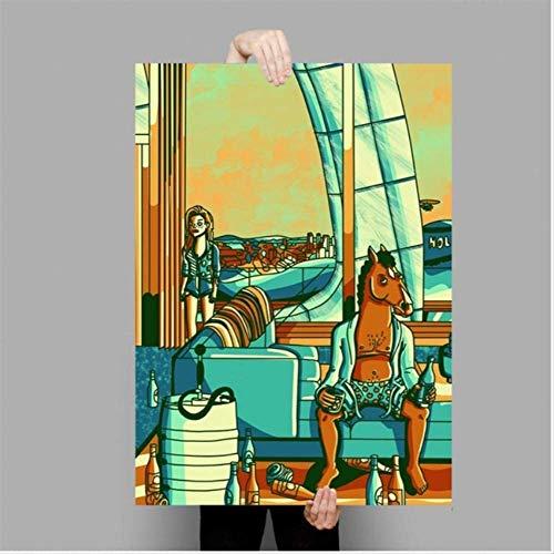 MONBAI Quadro su Tela Bojack Horseman Poster Serie TV Animazione Show Poster E Stampe Wall Art Picture Home Decor 50 × 70Cm Senza Cornice