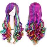 Oyfel Perücken für Frauen Cosplay Lange Gewellte Haare 70CM Perücke Hitzebeständige Faser Synthetische Bunt Regenbogen Farbe Damenperücken für Kostümparty Anime Karneval Cosplay