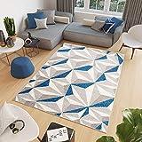 Tapiso Cosmo Alfombra de Salón Sala Comedor Juvenil Diseño Moderno Gris Crema Azul Geométrico...