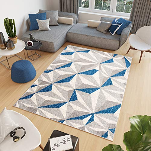 Tapiso Cosmo Alfombra de Salón Sala Comedor Juvenil Diseño Moderno Gris Crema Azul Geométrico Mosaico Suave 200 x 300 cm