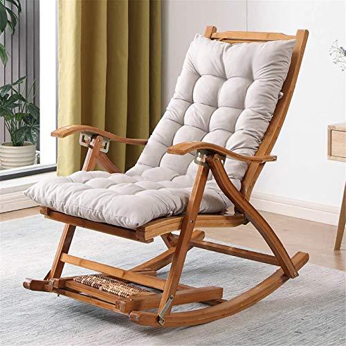 Ligero Silla mecedora de bambú reclinable para la silla reclinable para adultos balcón perezoso viejo siesta silla silla silla de ocio, sillón de silla de salón espesar alargar plegable, patio al aire