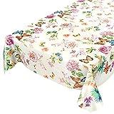 ANRO Wachstuchtischdecke Wachstuch Wachstischdecke Tischdecke Schmetterlinge Wiese Blumen Beige 100 x 140cm