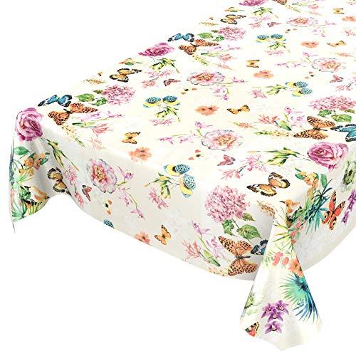 ANRO Wachstuchtischdecke Wachstuch Wachstischdecke Tischdecke Schmetterlinge Wiese Blumen Beige 120 x 140cm