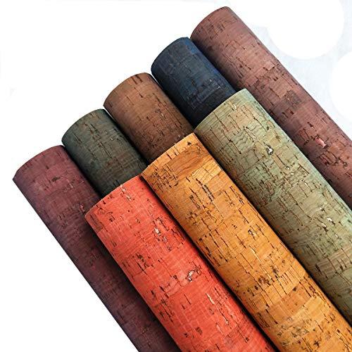 Zaione, fogli in vera pelle di sughero, in poliuretano naturale, con strisce stampate, 8 pezzi, 21 cm x 30 cm, per borse, portafogli, scarpe, fiocchi