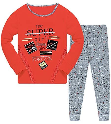 Mädchen Pyjama Set Glitzer Schlafanzug Hausanzug (128-134 (8-9 Jahre), Modell 8 Koralle