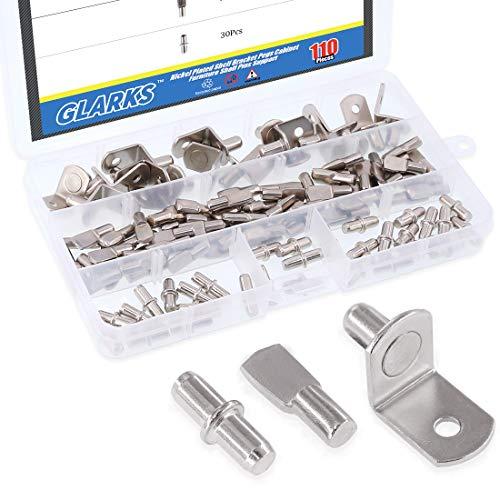 Glarks - Pinzas para estante de armario, 110 unidades, chapado en níquel, 3 estilos, color plateado