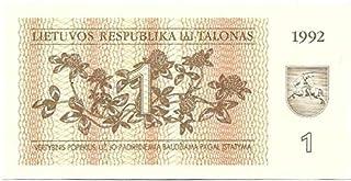 1992 Rare Lithuania 1 Talonas Note UNC Birds # E