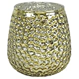 Just Artifacts 4-Inch Mercury Glass Reverse Hobnail Candle Holder Vase (3pcs, Gold) - Mercury Glass Candle Holders for Weddings, Events and Life Celebrations!