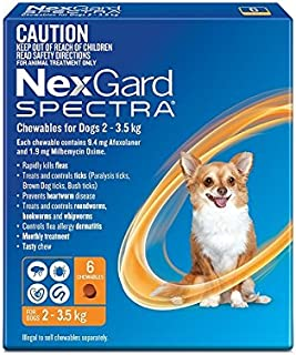 Nexgard, Flea, Tick & Worming Monthly Chew, Spectra, Dog, 2-3.5kg, 6pk