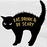 C.R. Gibson ''Eat, Drink, and Be Scary'' Black Cat Halloween Cocktail Napkins, 5'' x 5'', 20pcs