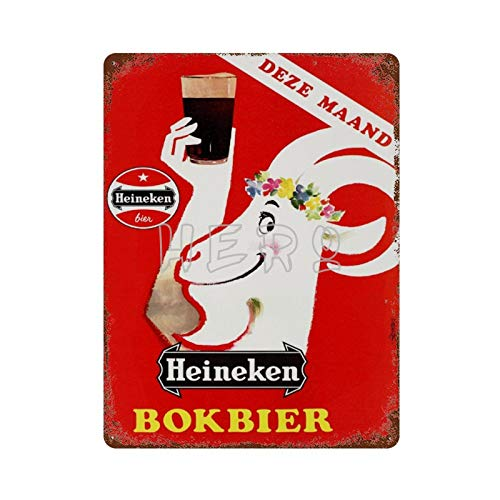 Heineken Beer BOKBIER DEZE MAAND Vintage Tin Sign Art Iron Painting Rusty Poster Decoración Placa de Aluminio Interesante Personalidad Banda película para Hotel Cafe