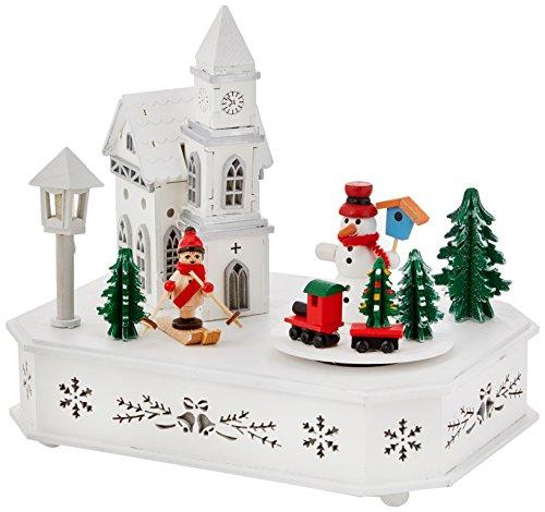 The Christmas Workshop-Luce LED a batteria e Wind Up, in legno e carillon, legno, pino