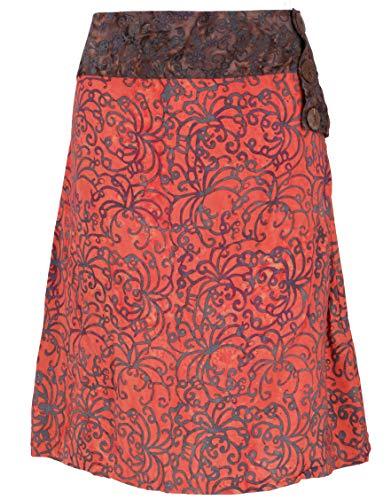 Guru-Shop Leichter Kurzer Sommerrock, Batikrock, aus Sarongstoff Größe S, Damen, Orange, Synthetisch, Size:36, Röcke/Kurz Alternative Bekleidung