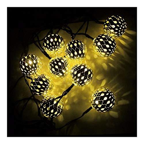 OKMIJN Marokko ballon zilveren koord, 20 leds, werkt op zonne-energie, smeedijzer, kerstverlichting, decoratieve verlichting voor buiten