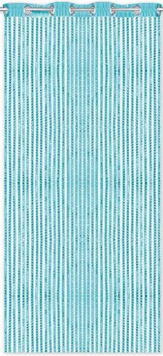 Arsvita Fadenvorhang Lurex-Optik Fadengardine Türvorhang mit Ösen, Trendige Dekoration in vielen verschiedenen Ausführungen erhältlich (140x250 cm/türkis - Pfauenblau)