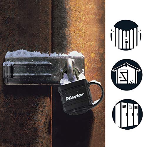 Master Lock 7804EURD Laminated Padlock with Key and Thermoplastic Cover, Black, 7,8 x 4 x 2,9 cm