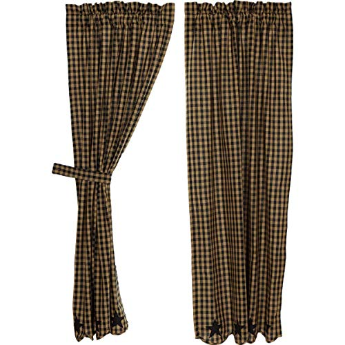 VHC Brands Black Star Scalloped Short Panel Set of 2 63x36 Country Curtains, Raven Black and Tan