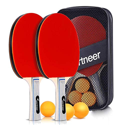 Sportneer Ping Pong Paddles,Table Tennis Paddles Set of 2 Paddles and 3 Balls, Portable Ping Pong Racket Set with Storage Bag for Children Adult Indoor/Outdoor Games,Best Gift for Boys and Girls