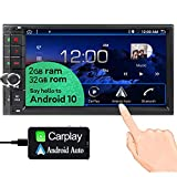 EinCar Carplay Android Auto Double Din Car Stereo with Bluetooth Touchscreen Radio Android 10.0 GPS Nav 7 Inch Head Unit Support 4 Core,2GB+32GB,AM,FM,MirrorLink,WiFi,External Microphone Included