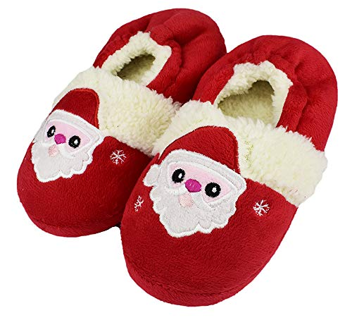 Unisex Kids Cute Cartoon Slippers Warm Winter Santa Claus Shoes for Girls Size 12-13 US Red