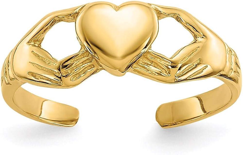 14k Polished Claddagh Toe Ring style K5109