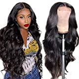 Body Wave Lace Closure Wig Human Hair Glueless 4x4 Lace Closure Wig Human Hair Wigs for Black Women Brazilian Hair Pre Plucked Bleached Knots Wet and Wavy Natural Black(18 inch Body Wave Wig)