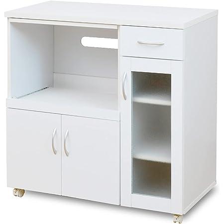moca company Mirage 鏡面 キッチンカウンター コンセント付き 幅90 キャスター付き 食器棚 ホワイト