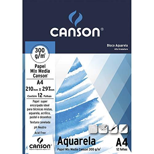 Bloco Aquarela A4 300g/m², Canson, 66667180, 12 Folhas