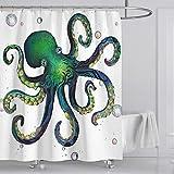Fuloon Duschvorhänge Set für Badezimmer, Anti-Schimmel, Wasserdichter, Waschbarer,mit 12 Duschvorhängeringen, 180x180cm (Weiß/Tintenfisch)