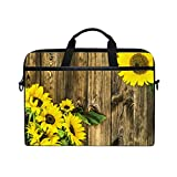VIKKO Sunflower Floral Frame On Wooden Laptop Bag for Most 11.6-14inch Laptops/Tablets/Ultrabooks, Stylish Shockproof Laptop Case Sleeve Briefcase Computer Bag with Shoulder Strap
